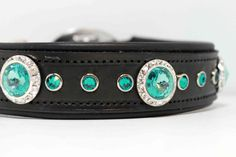 Padded Leather Dog Collar with Swarovski Blue Zircon Turquoise Deluxe Designer