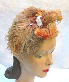 40's 50's Vintage Feather Tilt Hat Fascinator by MyVintageHatShop, $62.00