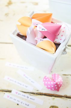 DIY Fortune Cookie Valentines!  Easy and fun.  Each cookie has a personalized message/ love note!