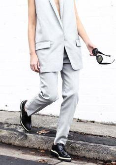 Chronicles Of Her Grey Rag Bone Suit Acne Brogues Celine Sunglasses Saint Laurent, Tomboy Fashion, Tomboy Style, Power Dressing, Black Vest, Professional Women, Minimal Fashion, Collar Shirts, Cool