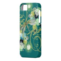 Cute dragonfly with abstract swirls & chic pearls iPhone 5 cover