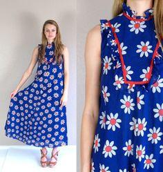vtg 60s blue daisy FLOWER POWER Hawaiian maxi by TigerlilyFrocks, $65.00