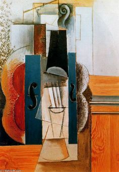Pablo Picasso >> Violín Colgado en La Pared | (oleo, obra de arte, reproducción, copia, pintura).