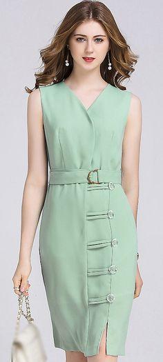 Work Pure Color V-Neck Belted Sleeveless Slit Bodycon Dress