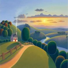 Sunshine Valley by Paul Corfield - Contemporary Paintings & fine art pictures available in our gallery - Free delivery on all orders over Abstract Landscape, Landscape Paintings, Arte Lowbrow, Illustrations, Illustration Art, Henri Rousseau, Art For Art Sake, Naive Art, Beautiful Artwork