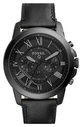 Fossil 'Fossil Q - Grant' Round Chronograph Leather Strap Smart Watch, 44mm