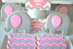 Elephun and Chevron Cookies, Part Of The Elephun Experience Dessert Table By Sweet Society