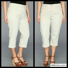 """Not Your Daughter's Jeans Bella Plus Size Crop These jeans are brand new. They are the Bella Plus Size Crop. Wash is Clay which is a light khaki/beige color. Features their famous Lift Tuck Technology. Made of 97% cotton 3% spandex. Tag size is 24W. Inseam is approximately 20.5"""" long NYDJ Jeans Ankle & Cropped"""