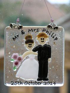 Personalised fused glass wedding hanger, measures 10cm x 10cm £10 plus postage. www.facebook.com/FirstGlassCreations