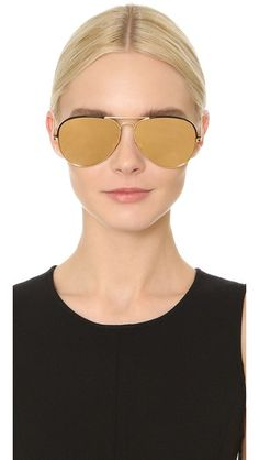 Pinterest: IVoRYBlaCkk ✔ https://kr.pinterest.com/IVoRYBlaCkk/ Linda Farrow Luxe Top Rim Yellow Gold Aviator Sunglasses