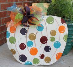 Large Polka Dot Pumpkin Door Hanger with deco mesh bow Fall Door Hangers, Burlap Door Hangers, Hanger Hooks, Wooden Pumpkins, Fall Pumpkins, Painted Pumpkins, Thanksgiving Crafts, Fall Crafts, Pumpkin Crafts