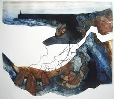 Hope Cove, collagraph by Anita Reynolds