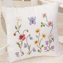Duftin Wildflowers Pillow Cover Stamped Cross-Stitch Kit - Herrschners