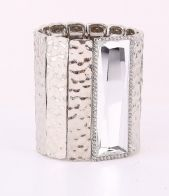 Silver stretch cuff bracelet, bangle, gemstone