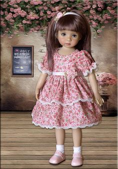 Will fit 13 Dolls: Dianna Effner Little Darling, Avery My Meadow, Iplehouse KID and other dolls similar in size. Miss Elin Iplehouse (10) is fashioning this beautiful 3 pc outfit. This darling dress is designed from a cotton floral print of sweet roses in shades of salmon