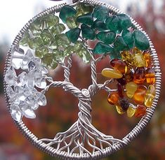 Family tree with birthstone colors of family members.