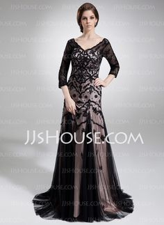 Mother of the Bride Dresses - $176.29 - Sheath V-neck Sweep Train Tulle Charmeuse Mother of the Bride Dresses With Lace (008006548) http://jjshouse.com/Sheath-V-Neck-Sweep-Train-Tulle-Charmeuse-Mother-Of-The-Bride-Dresses-With-Lace-008006548-g6548