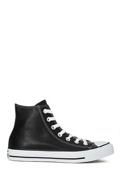 Converse All Star High-Top Sneaker - Black Leather - Sneakers Top Shoes, Cute Shoes, Me Too Shoes, Converse All Star, Converse Shoes, Converse High, Shoes Sneakers, Converse Chuck, Black High Top Sneakers