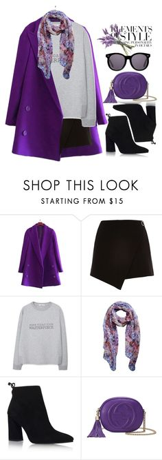 """""""Color Challenge: Purple, Black, & Gray"""" by bmaroso ❤ liked on Polyvore featuring River Island, MANGO, Stuart Weitzman, Gucci, Karen Walker and Vera Wang"""