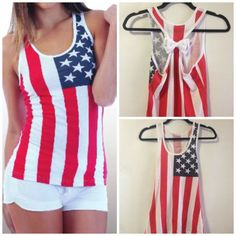 American Flag Bow Tank Top, Bow Tank Top, American Flag Tank, Fourth of July Tank, Country Concert Tank Copy