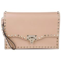 Valentino Evening Bags, Leather Clutch With Studs Skin Sorbet Handbag (£1,100) ❤ liked on Polyvore featuring bags, handbags, clutches, beige, evening handbags, hand bags, handbags purses, studded purse and valentino handbags