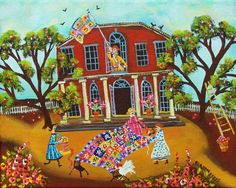 Primitive folk art painting featuring quilters by sharoneyres,  Title: Quilting Under the Old apple Trees