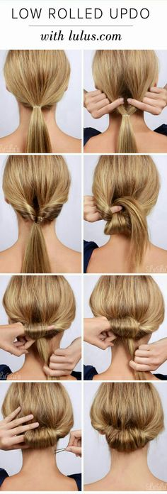 Lulus How-To: Low Rolled Updo Hair Tutorial Need to get party-ready in a pinch? Or maybe you're in need of a new look for that upcoming dinner party? Our Low Rolled Updo is just the thing! Wedding Hairstyles For Long Hair, Trendy Hairstyles, Straight Hairstyles, Braided Hairstyles, Holiday Hairstyles, Long Haircuts, Hairstyles 2018, Beautiful Hairstyles, Low Pony Hairstyles