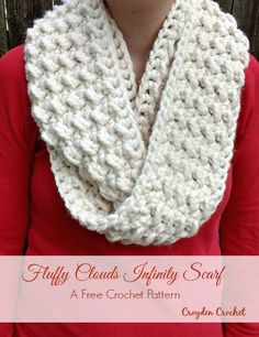 Fluffy Clouds Infinity Scarf - Croyden Crochet Hello Everyone! I actually created this pattern for my mom to give to her on her birthday. She loves to wear scarves and is pretty simplistic when i Crochet Gratis, Cute Crochet, Knit Crochet, Crochet Scarves, Crochet Clothes, Knitting Patterns, Crochet Patterns, Scarf Patterns, Knitting Tutorials