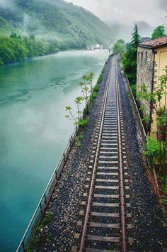Train ride through The Alps in Switzerland