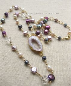 Gold edge Druzy agate slice Dyed dark peacock blue white fuchsia rose freshwater pearls Swarovski crystals wire wrapped goldfill necklace -…