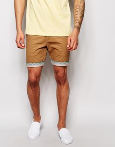Bellfield Chino Shorts with Aztec Print Turn Up