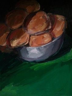 Still Life with Bread Rolls. Oil on Canvas. 12 x 16 inches  Eugene Conway.