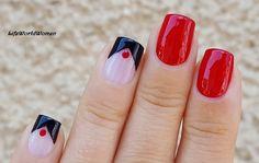 #Black & #Red #Nailart Using #Scotchtape & #Dottingtool
