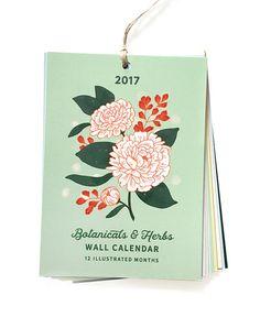 2017 Calendar - Wall Calendar - Illustrated Botanical and Herb Calendar by Paper Raven Co.