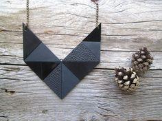 Geometric Leather Necklace Leather bib necklace by NasuKka on Etsy, $59.00