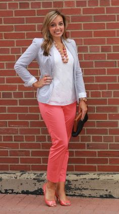 bright coral pants with my matchy coral peeptoe heels. Then I layered a white blouse under my seersucker blazer and added my all time favorite necklace on top for a perfectly preppy look.