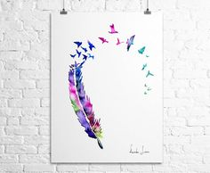 Birds Feather Art Print Watercolor Painting by WatercolorPrint, $30.00