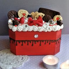 Wooden Decoden Red Box (Large) £20.00 Polymer Clay, decoden, kawaii, cute food!