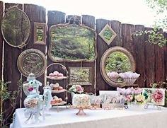 Love the use of mirrors & an amazing backdrop with vintage appeal