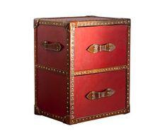 Cajonera de madera y cuero – rojo y marrón - 185€