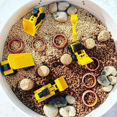 QUARRY 🚧 (Kmart construction vehicles, rings, rocks, coco pops, pearl barley, corks)
