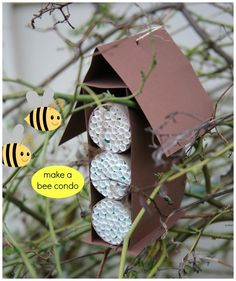 Make a Bee Condo! Teach your kids how to help save our bees with this easy craft.