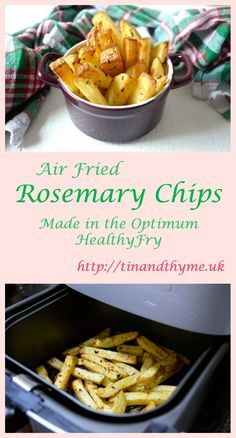Rosemary chips or fries made in the Froothie Optimum HealthyFry Air Fryer - crispy on the outside, fluffy in the middle. Veggie Recipes Healthy, Healthy Foods To Eat, Healthy Snacks, Vegetarian Recipes, Eating Healthy, Vegetable Recipes, Delicious Recipes, Easy Recipes, Tasty