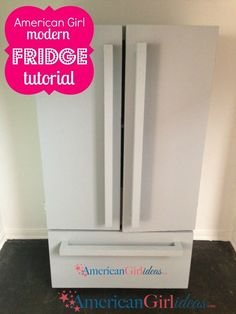 This American Girl Refrigerator is a fun build. The Fridge plans are easy to fol… - American Girl Dolls American Girl House, American Girl Crafts, American Girl Clothes, American Girls, American Girl Kitchen, American Girl Bedrooms, American Girl Furniture, Girls Furniture, Doll Furniture