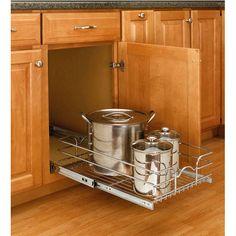Rev-A-Shelf Single Kitchen Cabinet Chrome Pull-Out Baskets #kitchensource #pinterest #followerfind