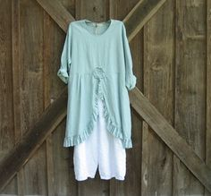 linen tunic top in lt. dusty blue ready to ship by linenclothing, $145.00
