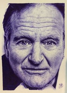 Ballpoint pen drawing of Robin Williams - A tribute to the wonderful actor who brought us so much laughter, and contributed immensely to th. Ballpoint pen drawing of Robin Williams Ballpoint Pen Drawing, Ink Pen Drawings, Amazing Drawings, Realistic Drawings, Biro Art, Pen Illustration, Drawn Art, Pen Sketch, Sketches