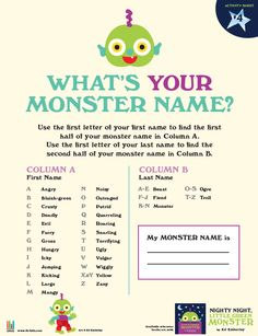 What's YOUR monster name?mine is angry orge:)! [Nighty Night, Little Green Monster by Ed Emberley] Monster Names, You Monster, Monster Birthday Parties, Birthday Games, 2nd Birthday, Say My Name, What Is Your Name, New Names, First Names