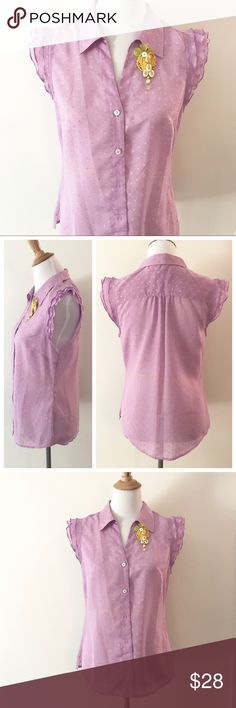 Purple Swiss Dot Ruffle Sleeve Lilly P Blouse I love this blouse! Pretty shade of purple with Swiss dot design and ruffle cap sleeves. No size is marked, but I am a 6/8 size 34D bust and this button down fits me perfectly! Great shape! Lilly Pulitzer Tops Button Down Shirts