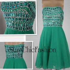 Short Emerlad Green Rhinestone Top Chiffon Dress for by EveryProm, $130.00